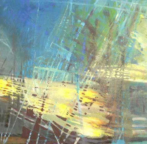 Hafenimpression / Impression sur le port | 80 x 40 | Mischtechnik auf Leinwand / Technique mixte sur toile