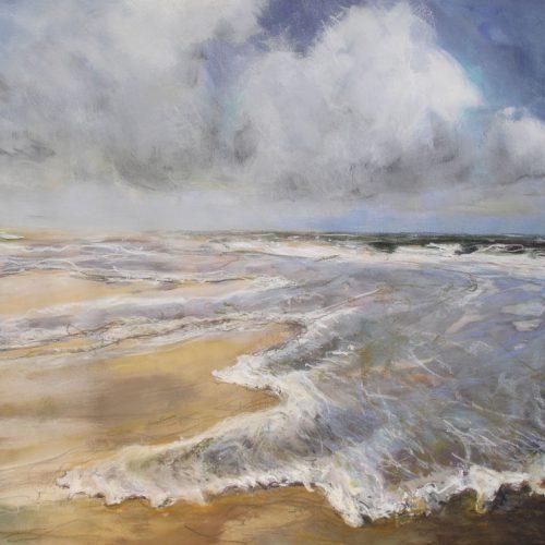 Am Strand / Sur la plage | 56 x 42 | Mischtechnik auf Papier / Technique mixte sur papier