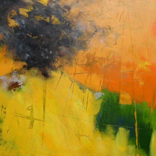 Der Vulkan / Le volcan | 100 x 80 | Acryl auf Leinwand / Acrylique sur toile