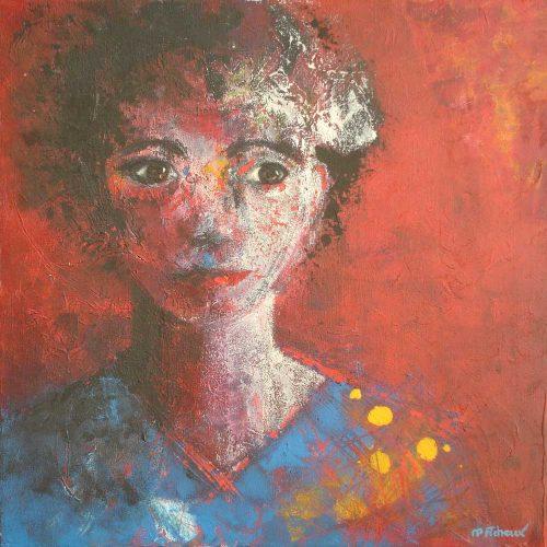 Frauenportrait mit rotem Hintergrund / Portrait de femme sur fond rouge | 50 x 50 | Acryl auf Leinwand / Acrylique sur toile