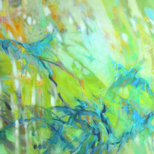 Blaue Vögel / Les oiseaux bleux | 100 x 80 | Mischtechnik auf Leinwand / Technique mixte sur toile