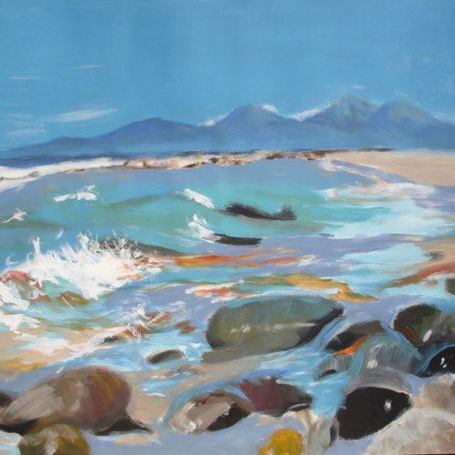 Steine am Meer / Rochers au bord de l'eau | 56 x 42 | Acryl auf Papier / Acrylique sur papier