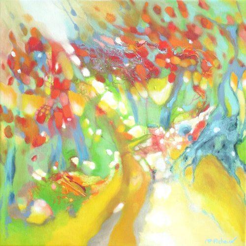 Auf dem Weg / Sur le chemin | 40 x 40 | Acryl auf Leinwand / Acrylique sur toile