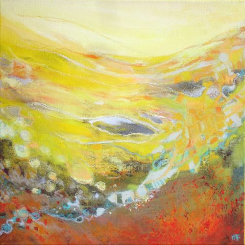 Gelbe Landschaft / Paysage jaune | 40 x 40 | Mischtechnik auf Leinwand / Technique mixte sur toile