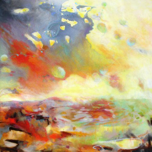 Der rote Himmel / Le ciel rouge | 100 x 100 | Acryl auf Leinwand / Acrylique sur toile