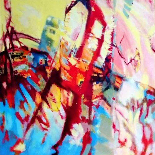 Der Kran / La grue | 80 x 80 | Acryl auf Leinwand / Acrylique sur toile