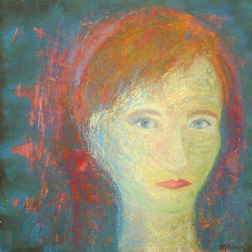 Frau mit blauen Augen / Femme aux yeux bleus | 40 x 40 cm | Mischtechnik auf Pappe / Technique mixte sur carton