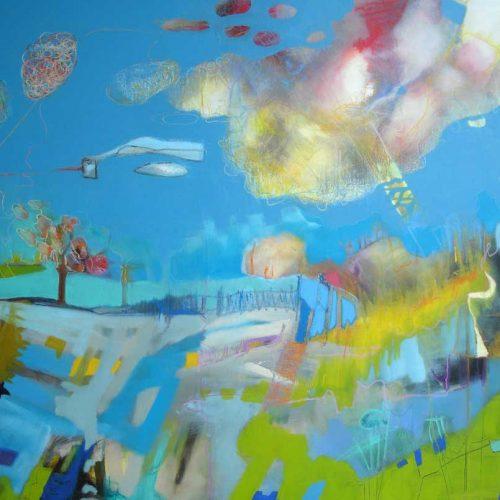 Landschaftstraum / Paysage de rêves | 100 x 80 | Mischtechnik auf Leinwand / Technique mixte auf Leinwand